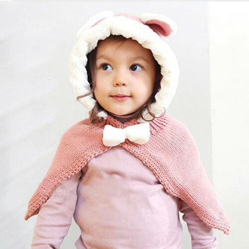 小花拉拉:小兔子針織連帽披肩(粉色)兒童披肩針織披肩連帽披肩