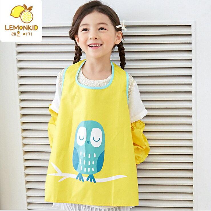 Lemonkid◆糖果色晚安貓頭鷹卡通造型純色防水防髒環保罩衣畫畫衣圍裙式-黃色