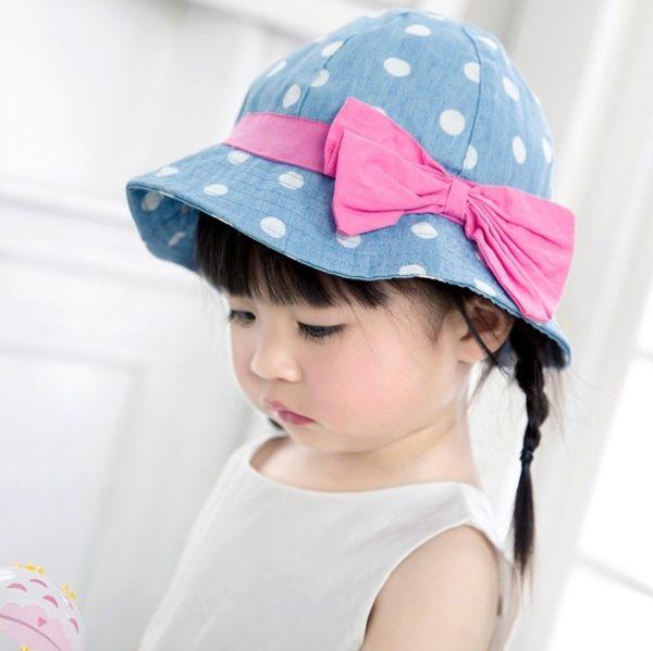 外貿原單春夏牛仔女童大圓點帽寶寶遮陽帽嬰幼兒純棉童帽~EMMA商城