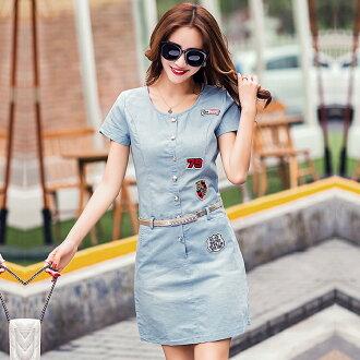 【CHACO CHACO】韓系個性貼布圓領排釦水洗薄牛仔短袖連身裙+贈皮帶
