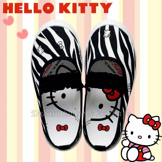 日本 sanrio 三麗鷗 Hello Kitty 兒童 室內鞋 / 休閒鞋 / 帆布鞋 / 鞋子 《 斑馬紋款 》 ★ 日本製 ★ 夢想家精品生活家飾 - 限時優惠好康折扣