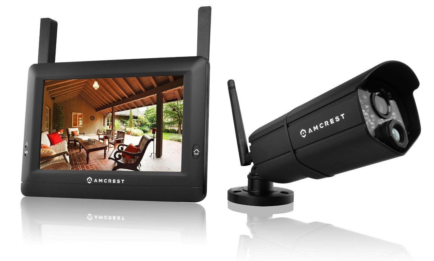 Amcrest WLD895US 720P 4CH 7-Inch Wireless Video Surveillance System, Bullet IP66 Camera (Black)