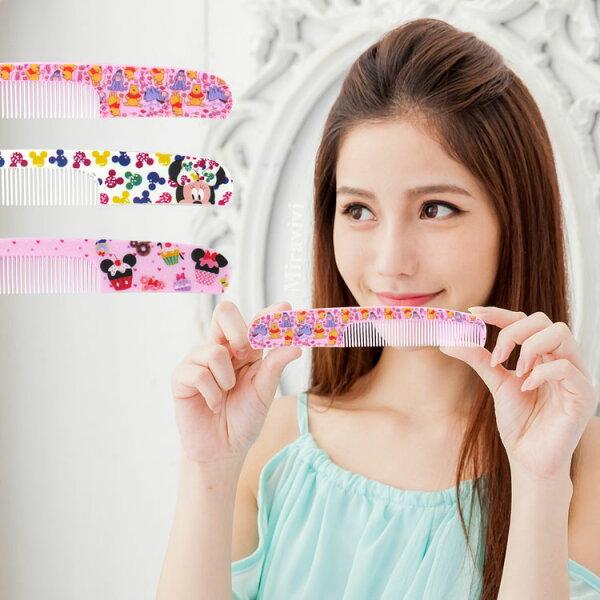 【Disney】可愛圖案造型扁梳梳子隨身梳-印花款