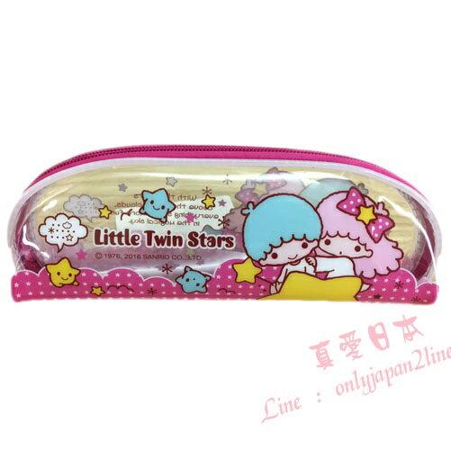 【真愛日本】16090500012透明條紋筆袋-TS粉   三麗鷗家族 Kikilala 雙子星    收納 筆袋