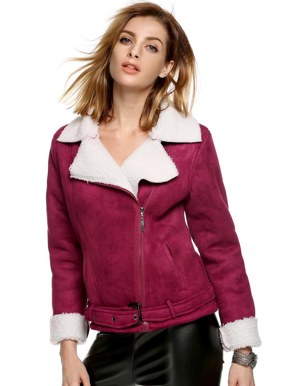 Women Lapel Long Sleeve Solid Fleeve Warm Coat 2
