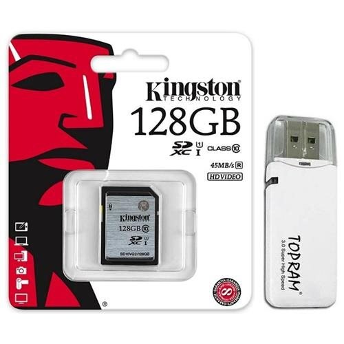 Kingston 128GB SDXC 45MB/s UHS-I U1 Class 10 128G SD C10 full HD Flash Memory Card SD10VG2/128GB + OEM USB 3.0 Card Reader 0