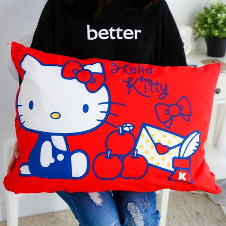 正版Hello Kitty蘋果枕頭(枕頭套+枕芯) 午安枕 午睡枕 抱枕 枕頭 靠墊 凱蒂貓 Kitty【B062359】
