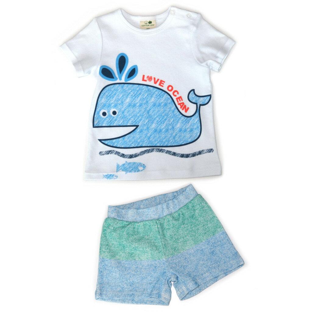 【菲比朵朵】 棉葉寶寶嬰兒有機棉短袖套裝睡衣(鯨魚圖案)