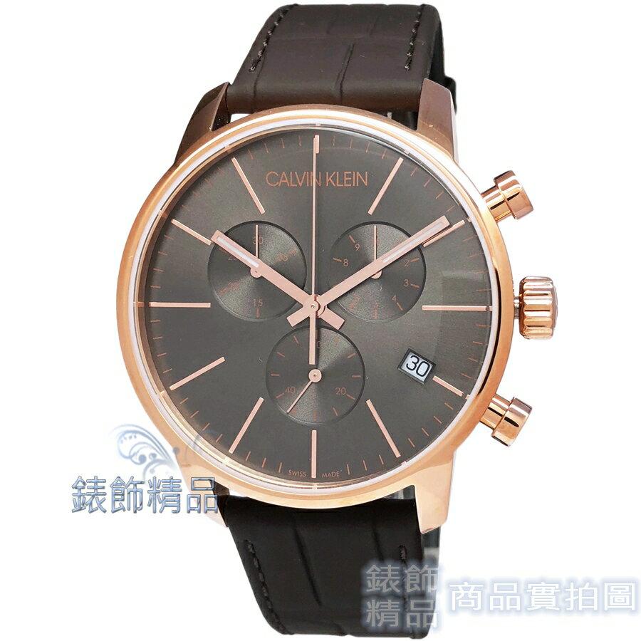 【錶飾精品】ck 手錶 K2G276G3 Calvin Klein 新LOGO 計時碼錶日期玫金框灰黑面 咖啡皮帶 男錶