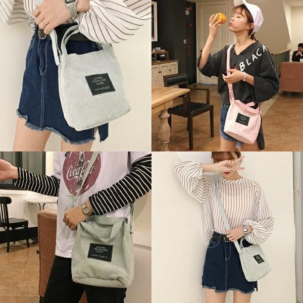 Life365:韓國秋冬新款綠標包燈芯絨布手提包手提袋包包帆布包絨布包【RB476】