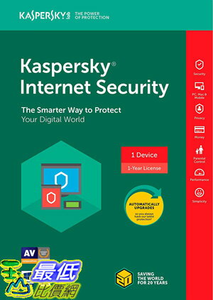 [7美國直購] 2018 amazon 亞馬遜暢銷軟體 Kaspersky Internet Security 2018 1 Device 1 Year Key Code