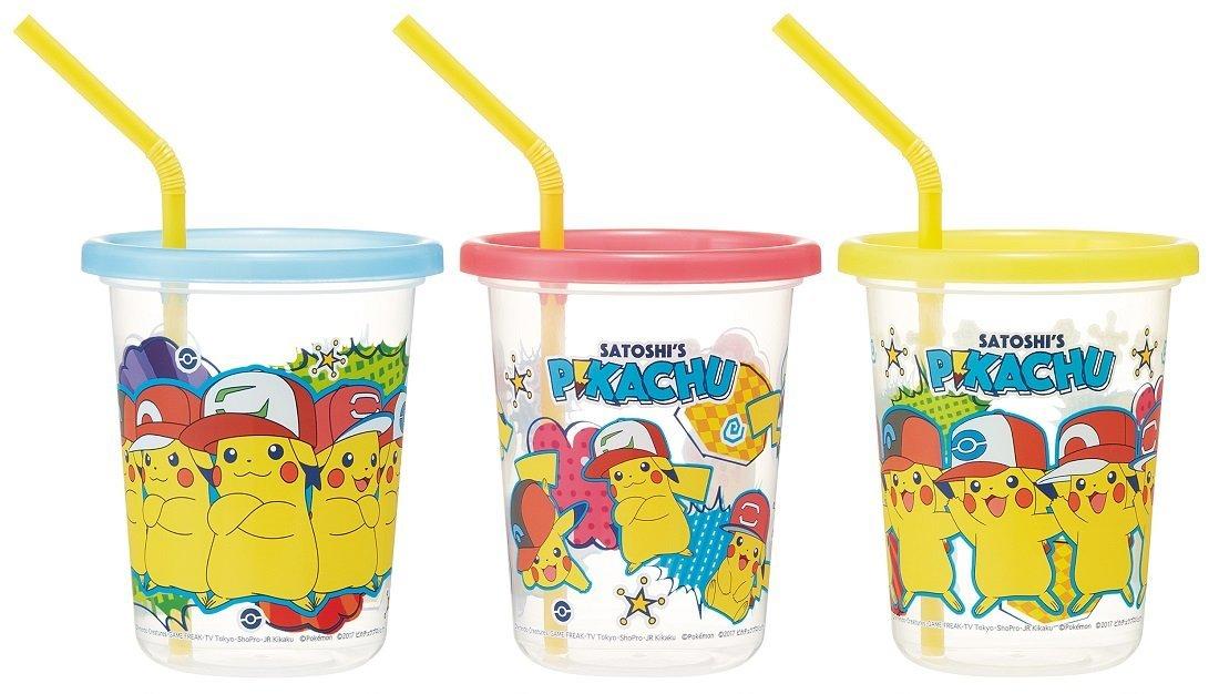 X射線【C383342】寶可夢 神奇寶貝皮卡丘 日本製塑膠吸管杯3入320ml,水瓶/隨身瓶/直飲水壺/學習杯/漱口杯/果汁杯/日本製