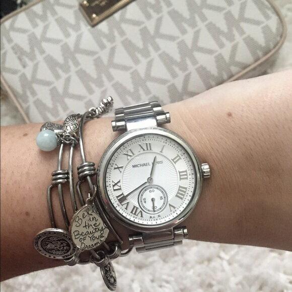 美國Outlet正品代購 MichaelKors MK 復古羅馬數字水鑽  陶瓷  三環 手錶 腕錶 MK5866 8