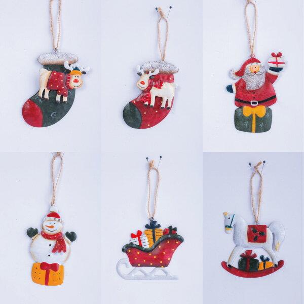 彩繪鐵片吊飾(6款-隨機出貨),聖誕節/掛飾/鐵片/手作/吊飾/裝飾/擺飾/交換禮物/道具,X射線【X018066】