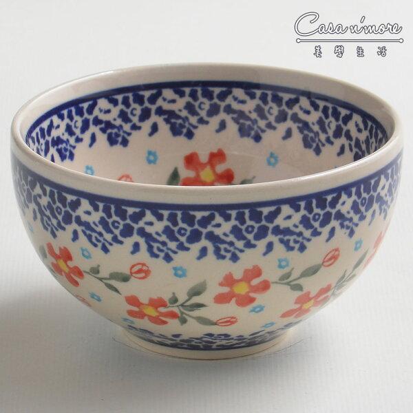 波蘭陶藍印紅花系列餐碗飯碗湯碗碗公12cm波蘭手工製