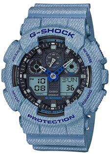 CASIOG-SHOCKGA-100DE-2A牛仔丹寧流行時尚雙顯腕錶