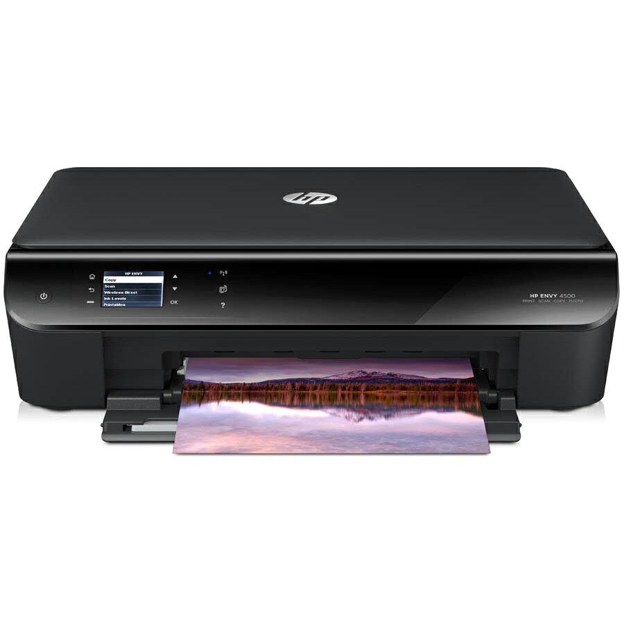 "HP Envy 4500 Inkjet Multifunction Printer - Color - Plain Paper Print - Desktop - Copier/Printer/Scanner - 21 ppm Mono/17 ppm Color Print - 8.8 ppm Mono/5.2 ppm Color Print (ISO) - 4800 x 1200 dpi Print - 6 cpm Mono/4 cpm Color Copy - 2"" LCD - 1200 dpi Op 1"