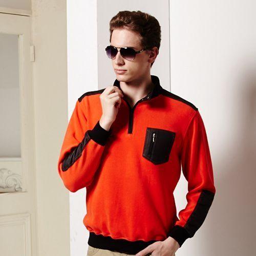秋冬新款橘色黑色口袋厚棉毛衣蓄熱保暖舒適上衣經典款【15035-32】*86精品女人國*