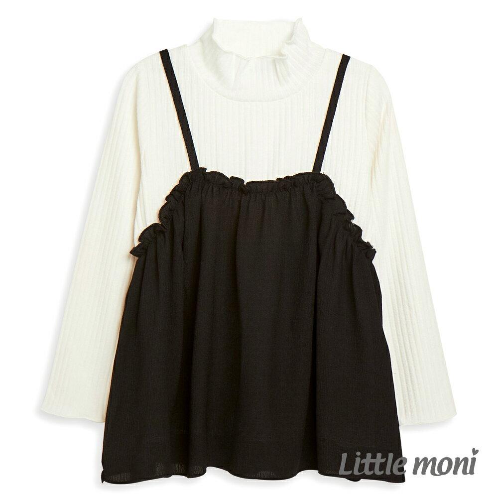 Little moni 假兩件上衣-黑色 1