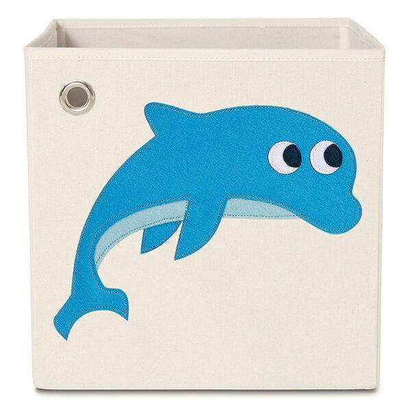美國kaikai&ash玩具收納箱-跳躍海豚摺疊收納箱玩具收納箱整理箱設計風棉麻不織布