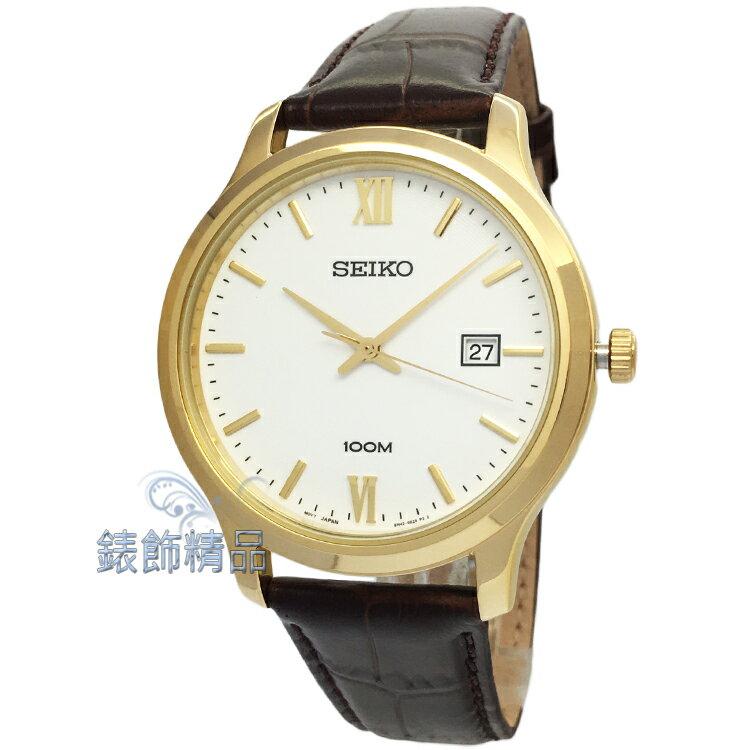 【錶飾精品】SEIKO手錶 精工表 SUR226P1 時尚優雅 日期 金框白面咖啡皮帶男錶 全新原廠正品 情人生日禮物