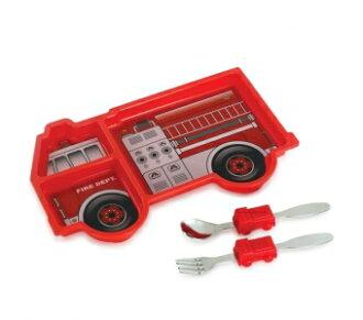 美國【KIDSFUNWARES】造型兒童餐盤組-消防車