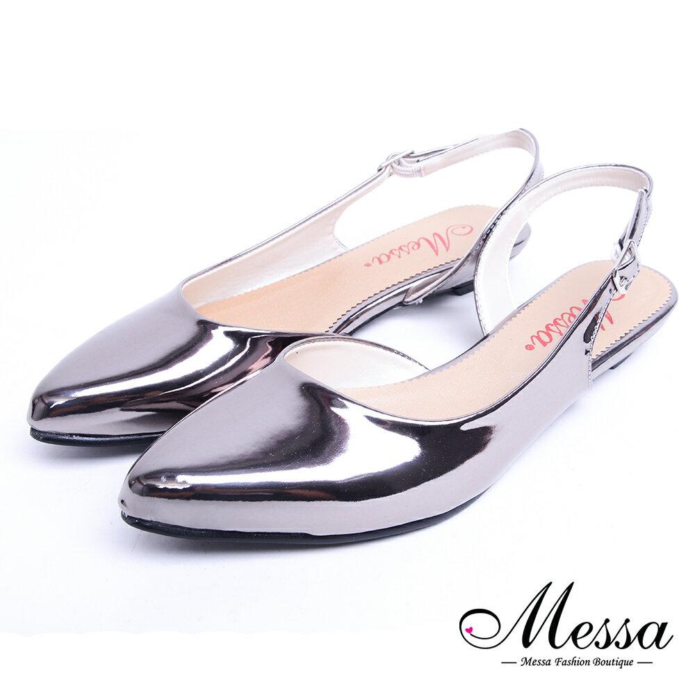 【Messa米莎專櫃女鞋】MIT時尚極簡風側空漆皮低跟尖頭鞋-銀色 - 限時優惠好康折扣