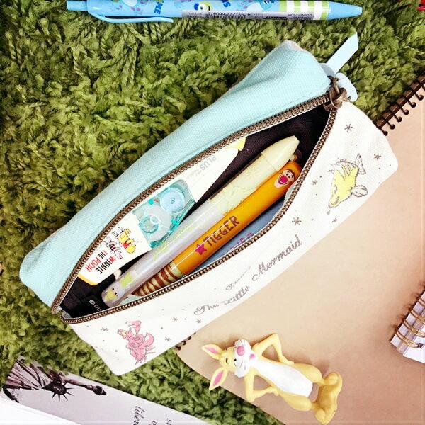 PGS7日本迪士尼系列商品-日本迪士尼愛麗兒Ariel愛麗兒雙拉鍊筆袋鉛筆盒【SIJ7484】
