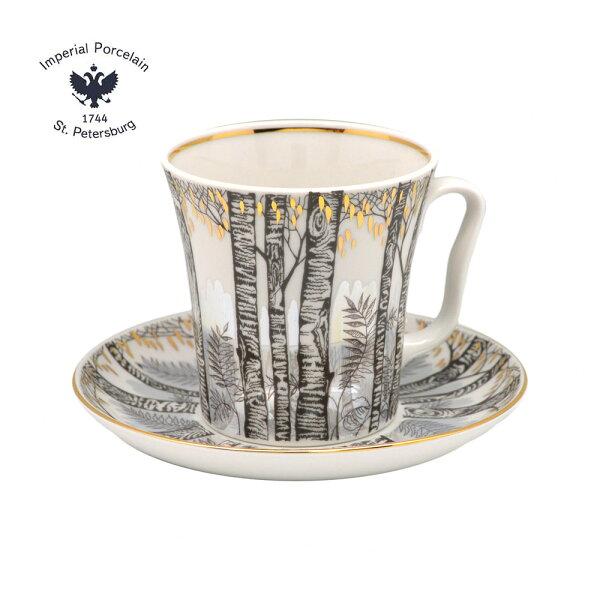 俄羅斯ImperialPorcelain銀色森林系列-22K金手工350ML馬克杯盤組
