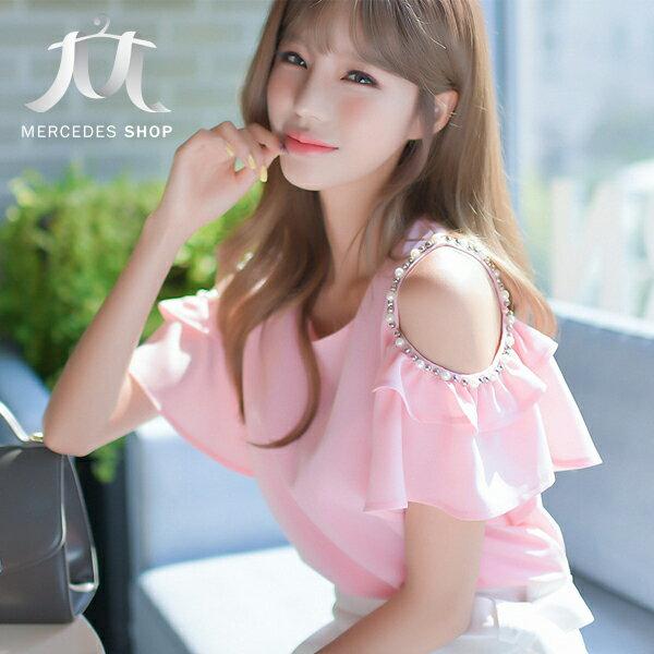 《全店75折》 韓國連線露肩荷葉邊純色釘珠短袖上衣 (S-XL) - 梅西蒂絲(現貨+預購) - 限時優惠好康折扣