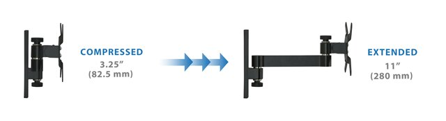Mount-It! Computer Monitor Wall Mount Arm, Full Motion Tilting Arm For Flat Panel LCD, LED Displays Fits Monitors up to 30 Inches, VESA 75 and 100 Compatible, 33 lb Capacity 3