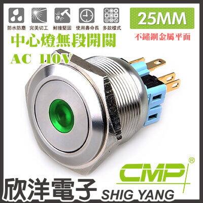 ※欣洋電子※25mm不鏽鋼金屬平面中心燈無段開關AC110VS2502A-110V藍、綠、紅、白、橙五色光自由選購CMP西普