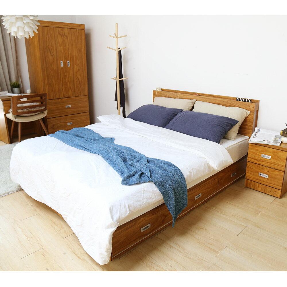 輕旅風系列5尺房間組-4件式-床頭+抽屜床底+床墊+二抽櫃 / DIGNITASII狄尼塔斯  /  H&D 5