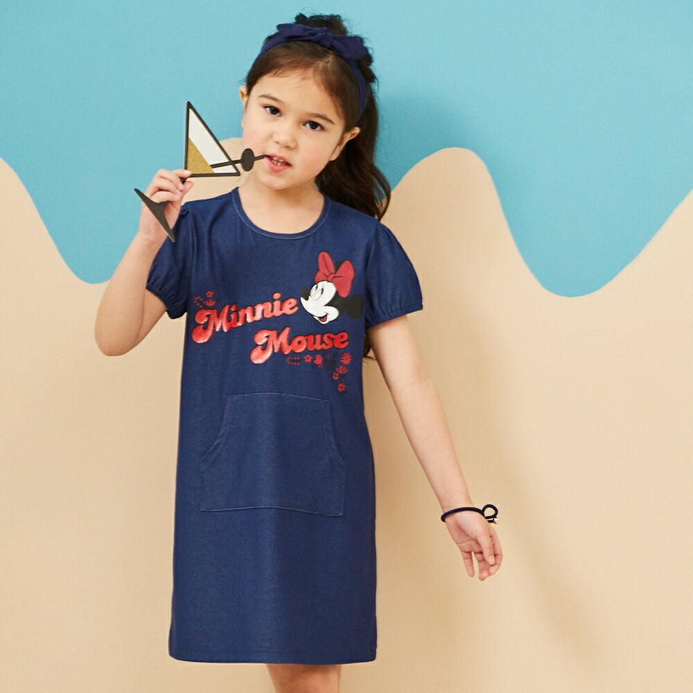 Disney 米妮系列夏日花園口袋洋裝-單寧布藍(好窩生活節) 0