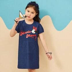 Disney 米妮系列夏日花園口袋洋裝-單寧布藍