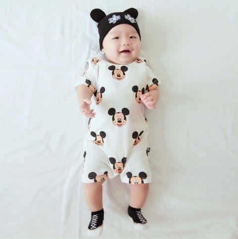EMMA商城~寶寶款BABY滿版米奇短袖哈衣 連身兔裝 包屁衣 親子裝