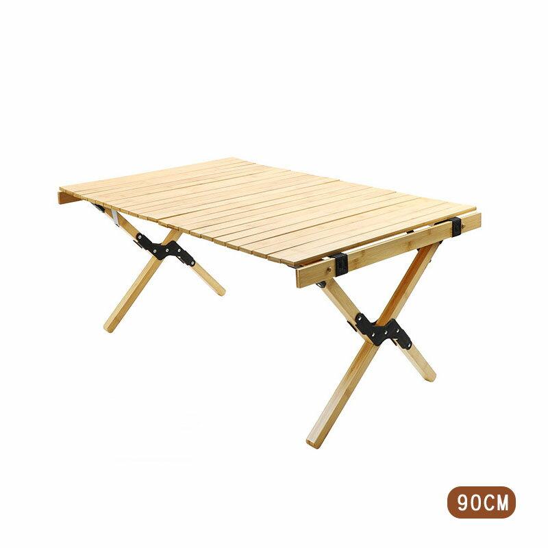【露營趣】新店桃園 BROWN BEAR BR-014 松木蛋捲桌 90CM 折疊桌 木桌 實木桌 休閒桌 摺疊桌 露營桌 野餐桌 茶几
