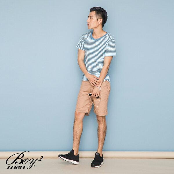 ☆BOY-2☆【PPK82110】短袖T恤韓簡約休閒V領細橫條紋滾邊素面短T 3