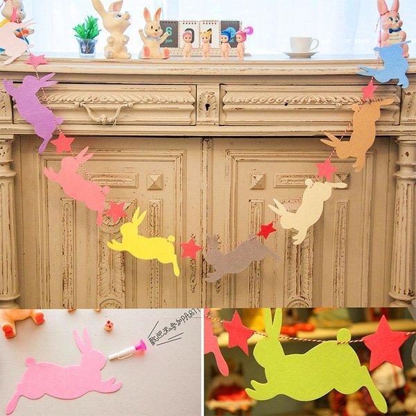 =優生活=韓國可愛小兔子星星嬰兒房婚慶派對節日裝飾掛飾不織布多彩旗幟 三角旗派對裝飾生日聖誕節慶聚會卡片 幼兒園 表演裝飾