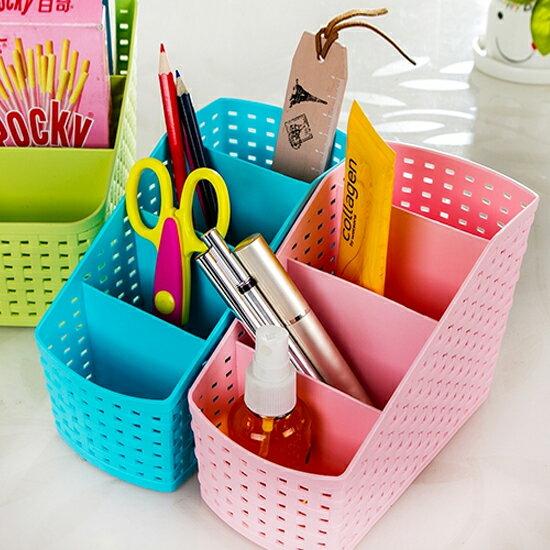 ♚MY COLOR♚編籐造型分格收納盒(小) 桌面 客廳 籃子 文具 辦公室 學生 洗漱 化妝台【H39】