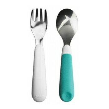 風靡美國‧安全無毒好放心 OXO嬰兒用餐具組(叉匙) - 水藍色