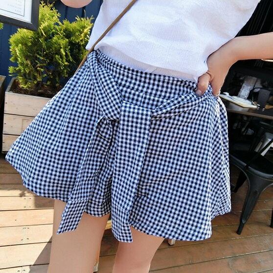 PS Mall 學院風打結棉布格子休閒半身裙高腰A字短裙~T1853~ ~  好康折扣