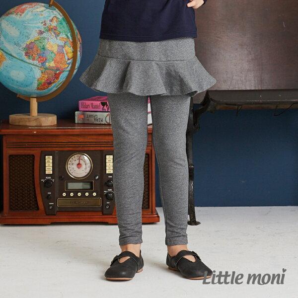 Littlemoni荷葉裙襬合身褲-深麻灰