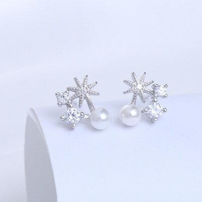 925純銀耳環鑲鑽耳飾~ 燦爛煙花 情人節生日 女飾品73hk51~ ~~米蘭 ~