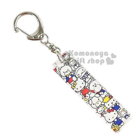 〔小禮堂〕Hello Kitty 壓克力鑰匙圈《白.朋友滿版.長方型》