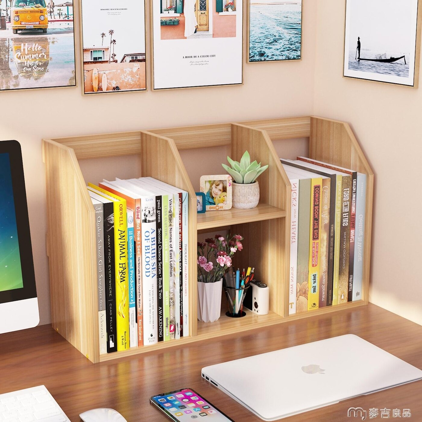 [10月你好]簡易書架桌上學生用兒童辦公桌宿舍小書柜書桌收納置物架桌面簡約