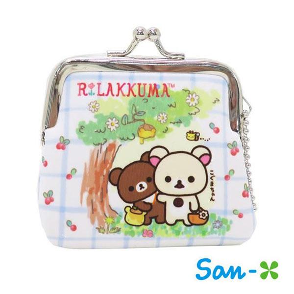格紋款【日本進口】San-X 拉拉熊 小型 防震棉 珠扣包 零錢包 懶懶熊 Rilakkuma 吊飾孔設計 - 439569