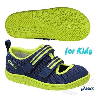 ASICS亞瑟士 AMPHIBIAN 6 兒童夏季涼鞋 魔鬼氈 (藍*綠)