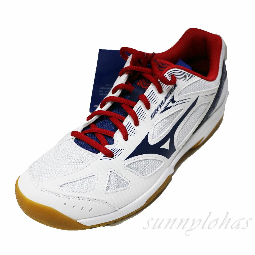 MIZUNO 美津濃 男女 SKY BLASTER 排球鞋 羽球鞋 71GA194512 白藍 [陽光樂活=]