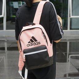 KUMO SHOES-ADIDAS 杏粉 淺粉 黑 LOGO 白拉鍊 後背包 女生 DN3503